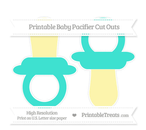 Free Turquoise Large Baby Pacifier Cut Outs