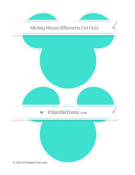 Free Turquoise Large Mickey Mouse Silhouette Cut Outs