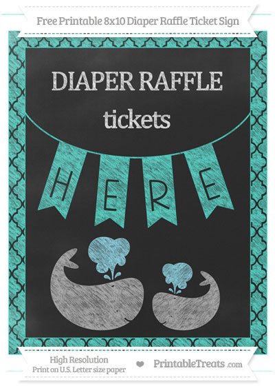 Free Turquoise Moroccan Tile Chalk Style Baby Whale 8x10 Diaper Raffle Ticket Sign