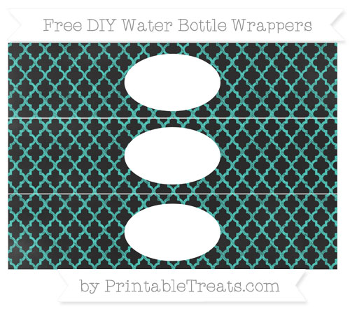 Free Turquoise Moroccan Tile Chalk Style DIY Water Bottle Wrappers