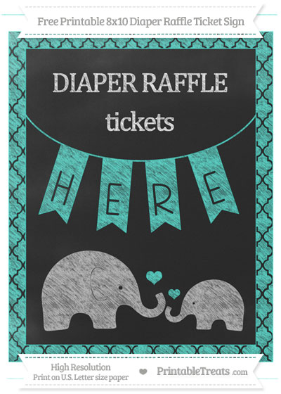 Free Turquoise Moroccan Tile Chalk Style Elephant 8x10 Diaper Raffle Ticket Sign