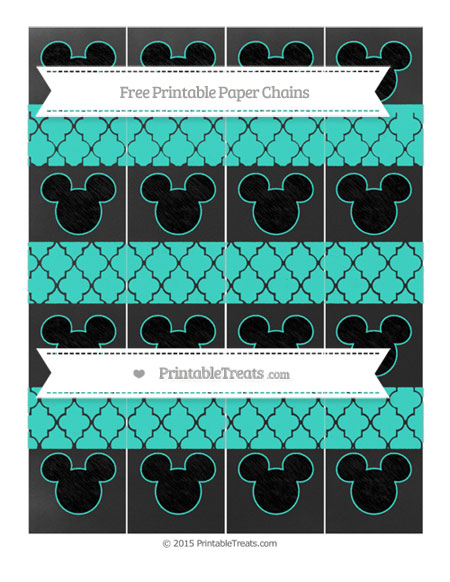 Free Turquoise Moroccan Tile Chalk Style Mickey Mouse Paper Chains