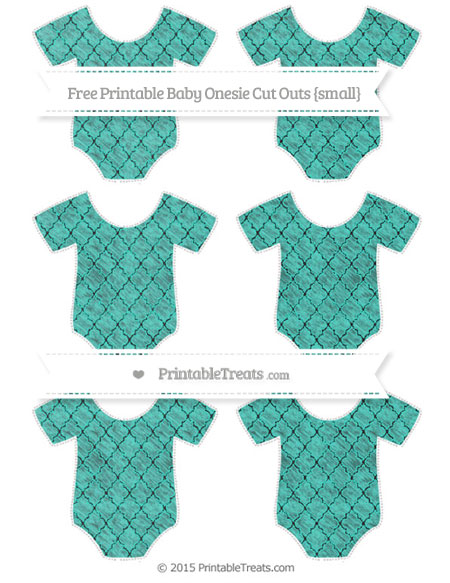 Free Turquoise Moroccan Tile Chalk Style Small Baby Onesie Cut Outs