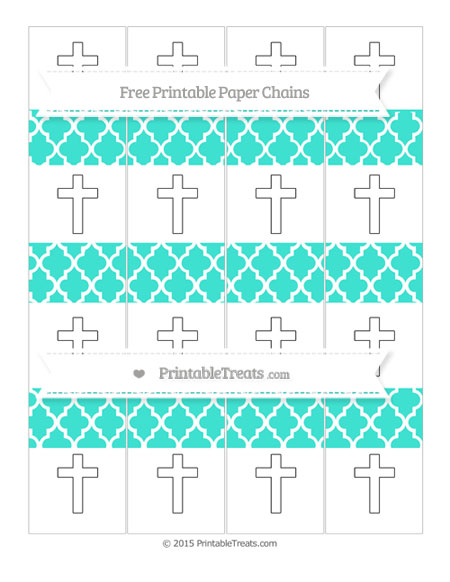 Free Turquoise Moroccan Tile Cross Paper Chains
