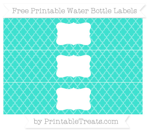 Free Turquoise Moroccan Tile Water Bottle Labels