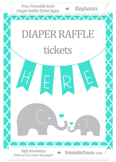 Free Turquoise Moroccan Tile Elephant 8x10 Diaper Raffle Ticket Sign