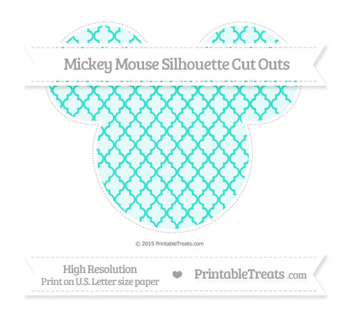 Free Turquoise Moroccan Tile Extra Large Mickey Mouse Silhouette Cut Outs