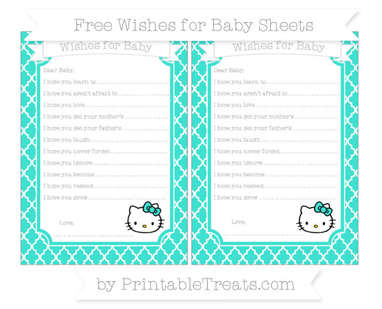 Free Turquoise Moroccan Tile Hello Kitty Wishes for Baby Sheets