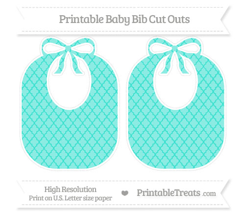 Free Turquoise Moroccan Tile Large Baby Bib Cut Outs