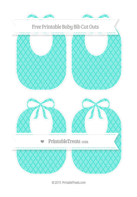 Free Turquoise Moroccan Tile Medium Baby Bib Cut Outs