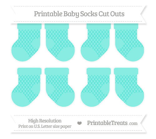 Free Turquoise Moroccan Tile Small Baby Socks Cut Outs