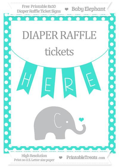 Free Turquoise Polka Dot Baby Elephant 8x10 Diaper Raffle Ticket Sign