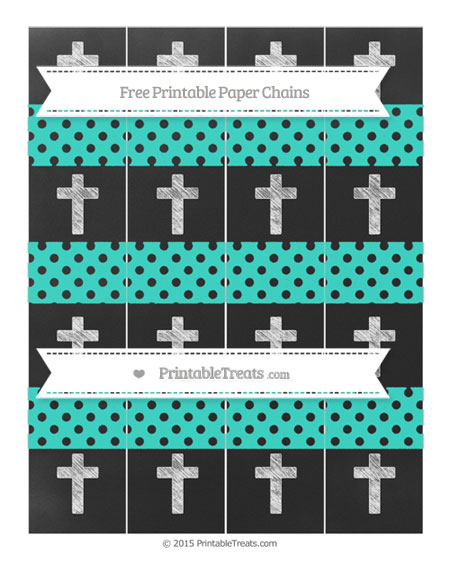 Free Turquoise Polka Dot Chalk Style Cross Paper Chains