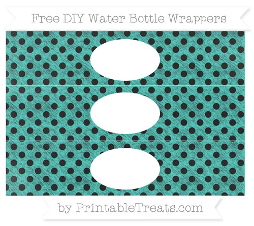 Free Turquoise Polka Dot Chalk Style DIY Water Bottle Wrappers