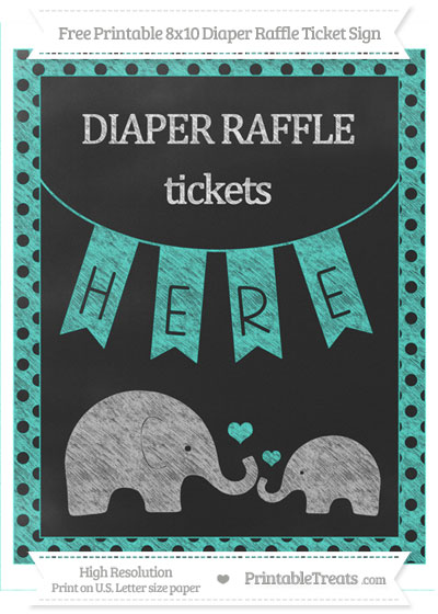 Free Turquoise Polka Dot Chalk Style Elephant 8x10 Diaper Raffle Ticket Sign