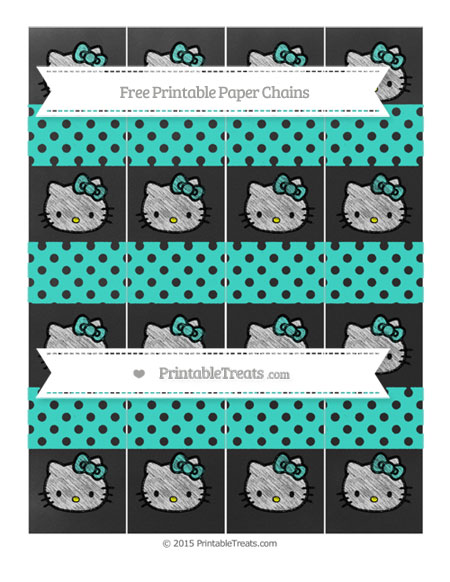 Free Turquoise Polka Dot Chalk Style Hello Kitty Paper Chains