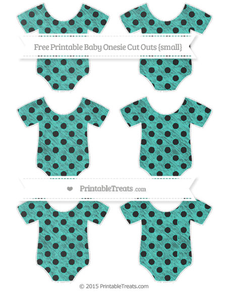 Free Turquoise Polka Dot Chalk Style Small Baby Onesie Cut Outs