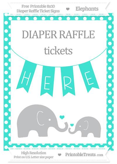 Free Turquoise Polka Dot Elephant 8x10 Diaper Raffle Ticket Sign
