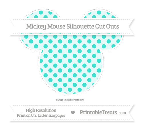 Free Turquoise Polka Dot Extra Large Mickey Mouse Silhouette Cut Outs