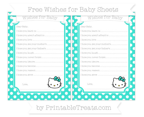 Free Turquoise Polka Dot Hello Kitty Wishes for Baby Sheets