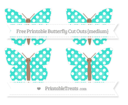 Free Turquoise Polka Dot Medium Butterfly Cut Outs