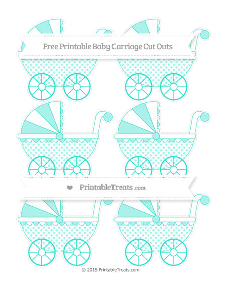 Free Turquoise Polka Dot Small Baby Carriage Cut Outs