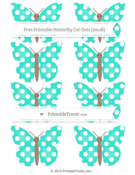 Free Turquoise Polka Dot Small Butterfly Cut Outs