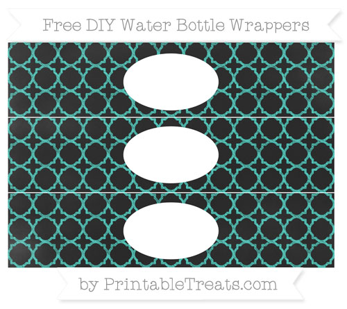 Free Turquoise Quatrefoil Pattern Chalk Style DIY Water Bottle Wrappers