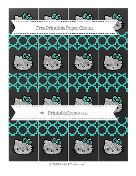 Free Turquoise Quatrefoil Pattern Chalk Style Hello Kitty Paper Chains