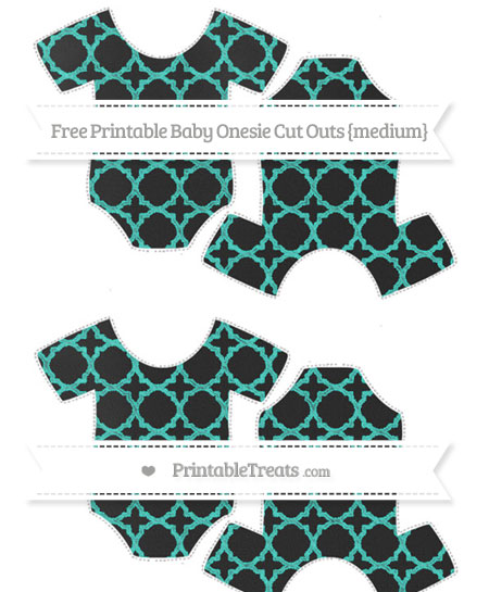 Free Turquoise Quatrefoil Pattern Chalk Style Medium Baby Onesie Cut Outs