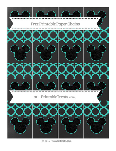 Free Turquoise Quatrefoil Pattern Chalk Style Mickey Mouse Paper Chains