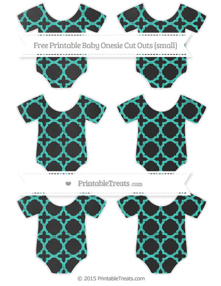 Free Turquoise Quatrefoil Pattern Chalk Style Small Baby Onesie Cut Outs