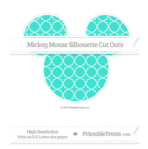 Free Turquoise Quatrefoil Pattern Extra Large Mickey Mouse Silhouette Cut Outs