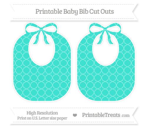 Free Turquoise Quatrefoil Pattern Large Baby Bib Cut Outs