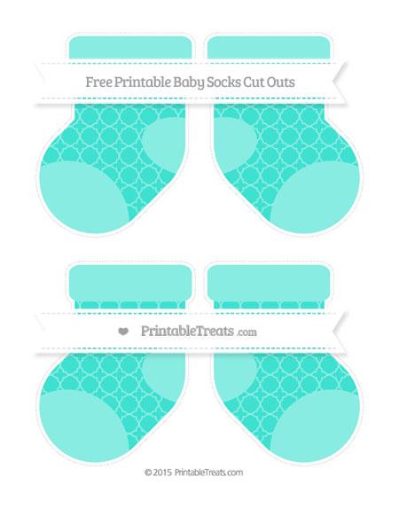 Free Turquoise Quatrefoil Pattern Medium Baby Socks Cut Outs