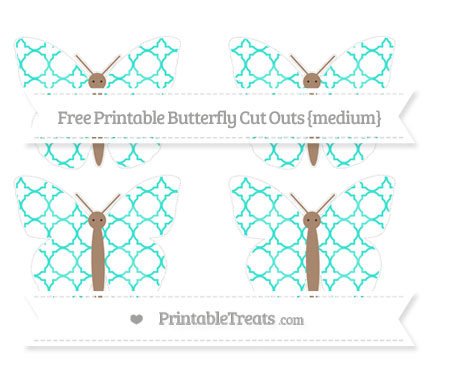 Free Turquoise Quatrefoil Pattern Medium Butterfly Cut Outs