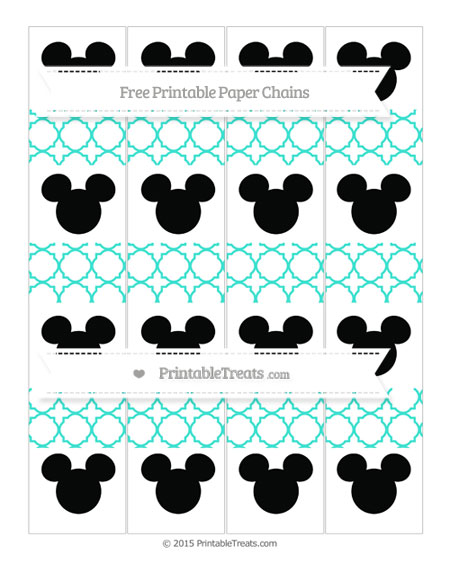 Free Turquoise Quatrefoil Pattern Mickey Mouse Paper Chains