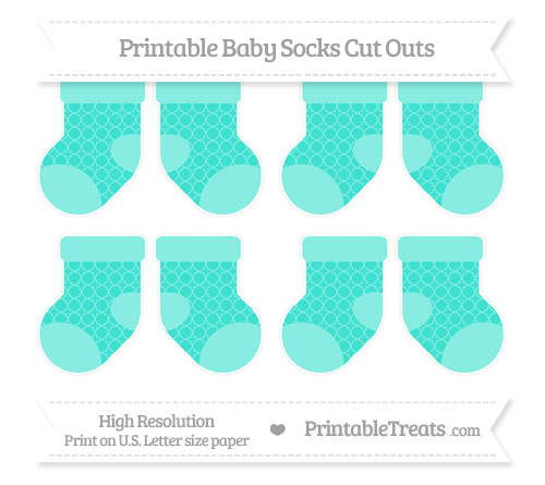 Free Turquoise Quatrefoil Pattern Small Baby Socks Cut Outs