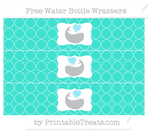 Free Turquoise Quatrefoil Pattern Whale Water Bottle Wrappers