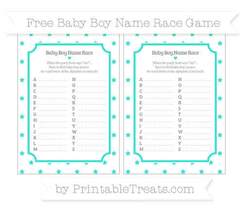 Free Turquoise Star Pattern Baby Boy Name Race Game