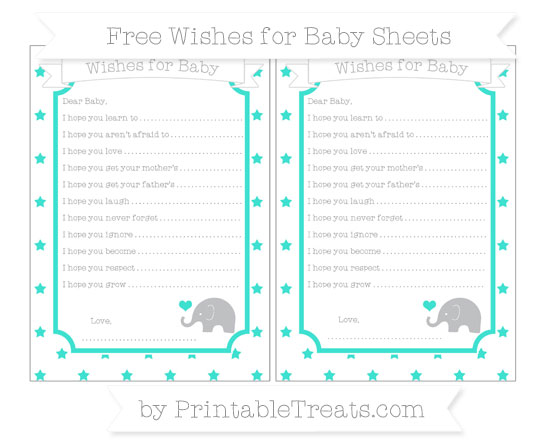 Free Turquoise Star Pattern Baby Elephant Wishes for Baby Sheets