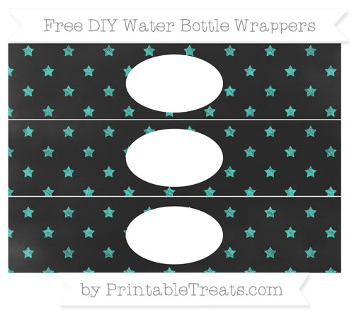 Free Turquoise Star Pattern Chalk Style DIY Water Bottle Wrappers