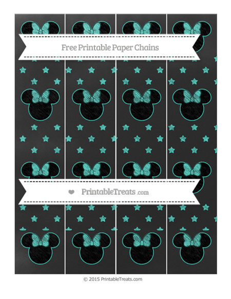 Free Turquoise Star Pattern Chalk Style Minnie Mouse Paper Chains