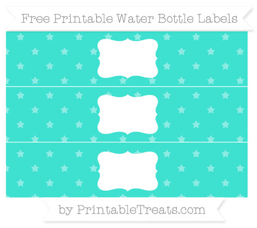 Free Turquoise Star Pattern Water Bottle Labels