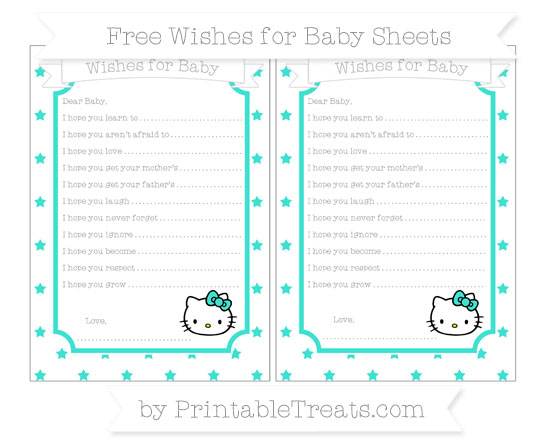 Free Turquoise Star Pattern Hello Kitty Wishes for Baby Sheets