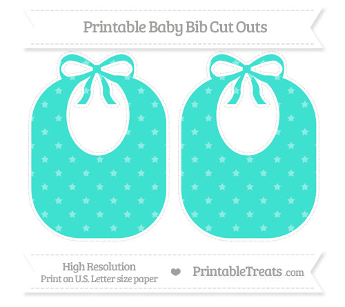 Free Turquoise Star Pattern Large Baby Bib Cut Outs