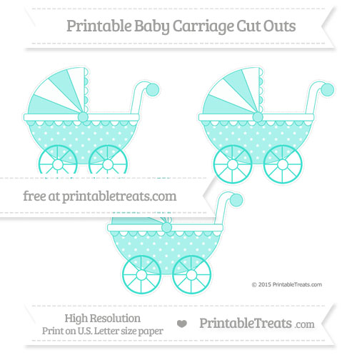 Free Turquoise Star Pattern Medium Baby Carriage Cut Outs