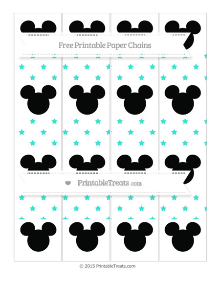 Free Turquoise Star Pattern Mickey Mouse Paper Chains