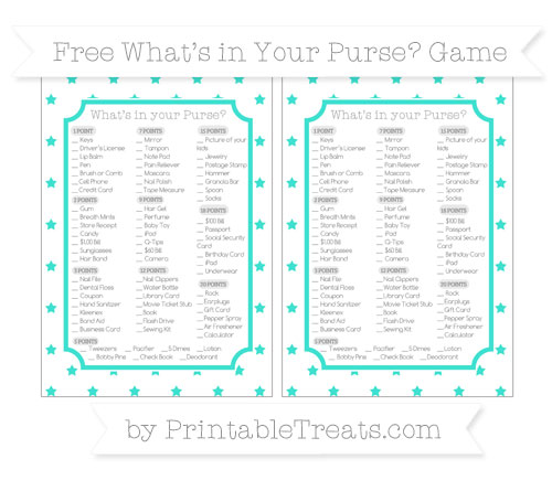 Free Turquoise Star Pattern What's in Your Purse Baby Shower Game