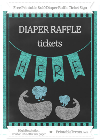 Free Turquoise Striped Chalk Style Baby Whale 8x10 Diaper Raffle Ticket Sign
